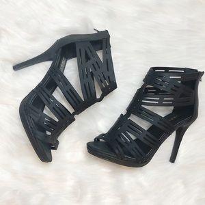 Torrid Geo Cutout Black Gladiator Heel